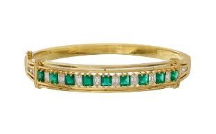 Emerald and Diamond Bangle Bracelet