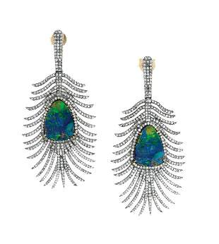 """Pair of Black Opal and Diamond """"Feather"""" Earrings"""