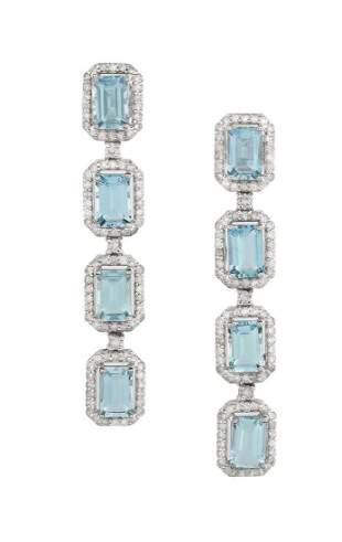 Pair of Aquamarine and Diamond Earrings
