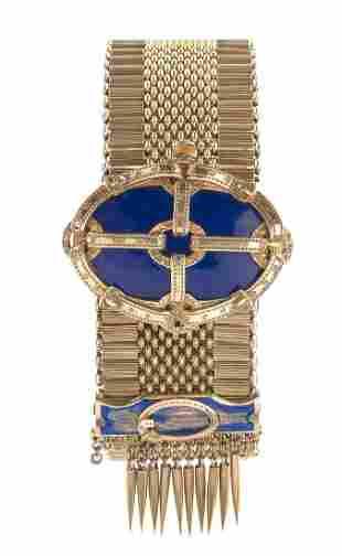 Gold and Enamel Fringe Bracelet