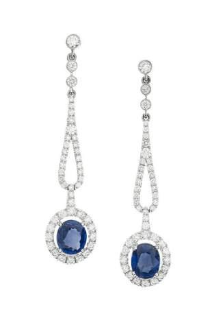 Pair of Sapphire and Diamond Earrings