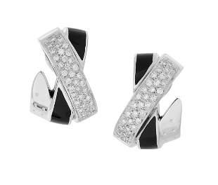 Pair of Diamond and Black Enamel Ear Clips