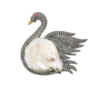 "Baroque Pearl, Diamond and Ruby ""Swan"" Brooch"