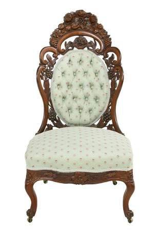 """American Rococo Revival Rosewood """"Bustle"""" Chair"""