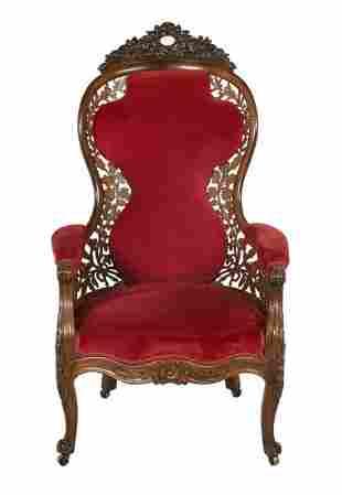 American Rococo Revival Rosewood Armchair