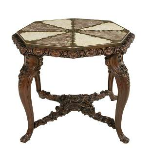 Continental Brass, Marble and Walnut Center Table