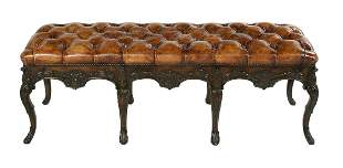 George III-Style Mahogany and Leather Bench