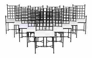 Suite of Twelve Wrought Iron Dining Chairs
