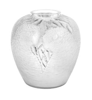 """Lalique Molded & Frosted Crystal """"Alicante"""" Vase"""