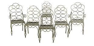 "Six Vintage Steel ""Loop"" Garden Chairs"