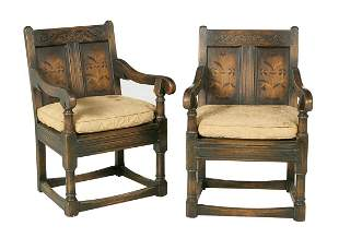 Pair of Continental Oak Armchairs