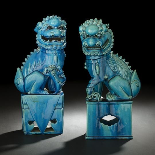 20: Pair of Chinese Glazed Porcelain Foo Dogs