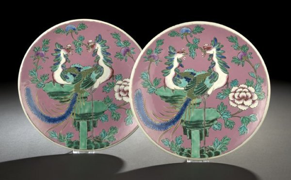 23: Pair of Chinese Porcelain Phoenix Plates