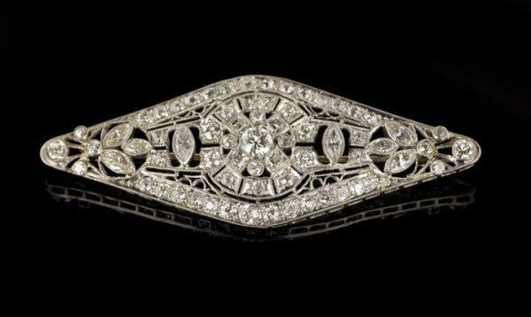 720: Stunning Art Deco 14 Kt. Gold and Diamond Brooch