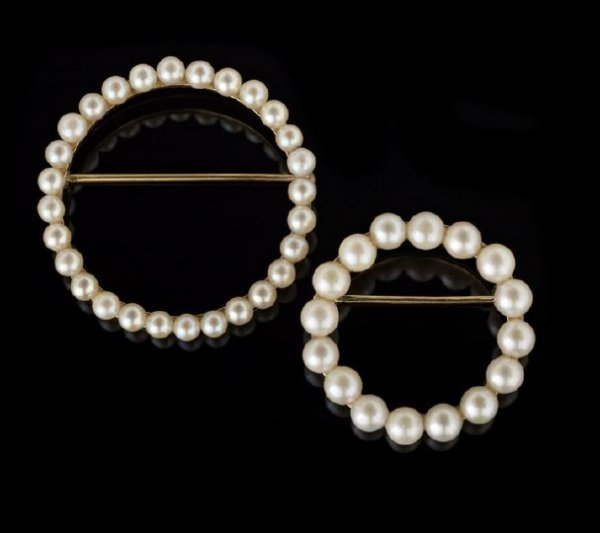722: Two 14 Kt. Yellow Gold and Pearl Circle Brooches