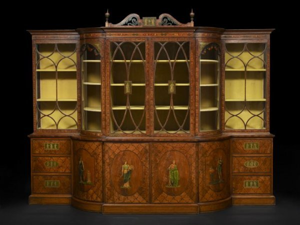 1217: Late Victorian Satinwood Library Case