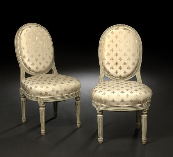 12: Pair of Louis XVI-Style Painted Sidechairs