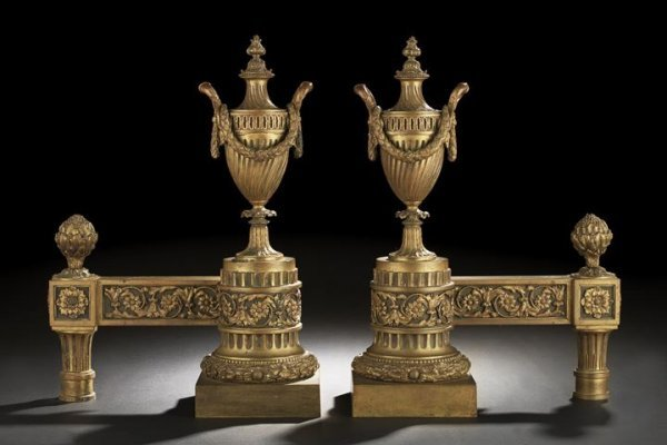609: Imposing Pair of Bronze-Patinated Brass Chenets