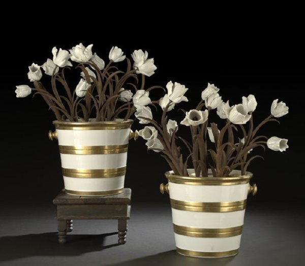 610: Pair of French Flower-Bedecked Porcelain Pails