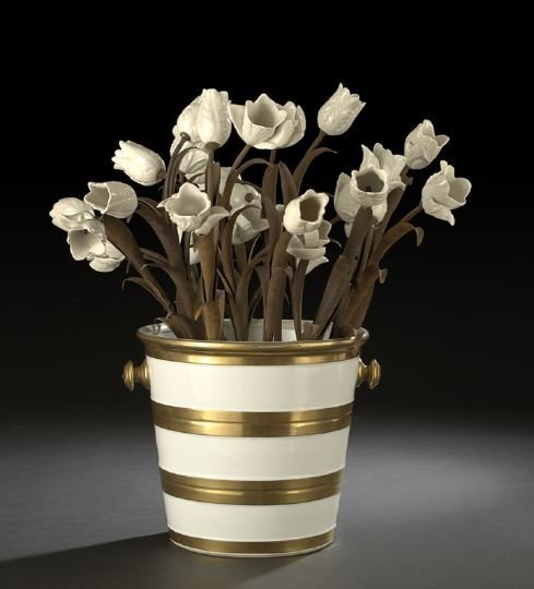 611: French Flower-Bedecked Porcelain Pail