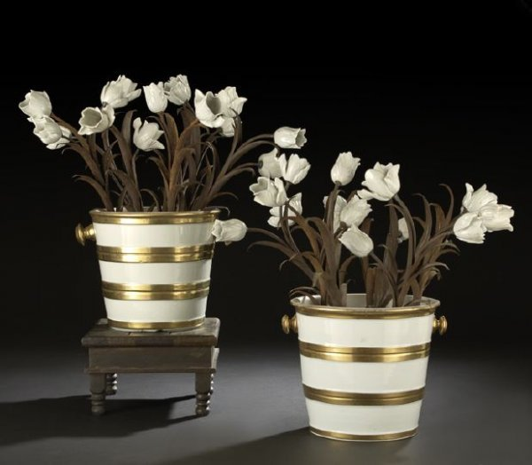 612: Pair of French Flower-Bedecked Porcelain Pails