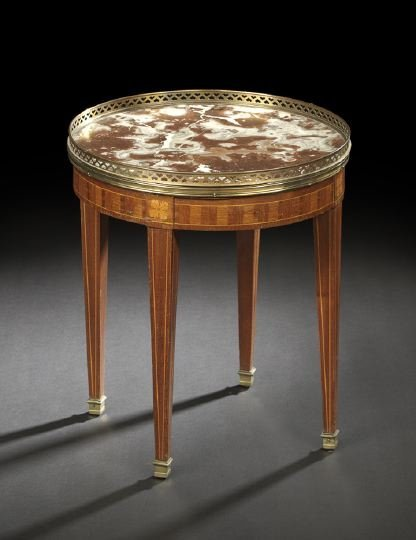615: Louis XVI-Style Marble-Top Occasional Table