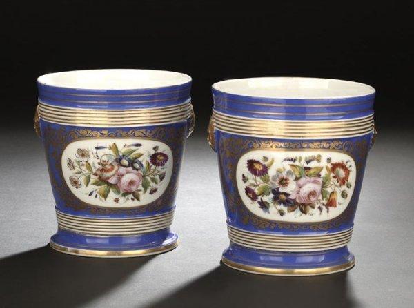 622: Pair of Paris Porcelain Blue-Ground Cachepots