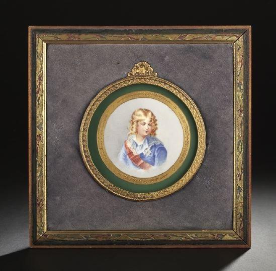 625: French Hand-Painted Porcelain Portrait Plaque