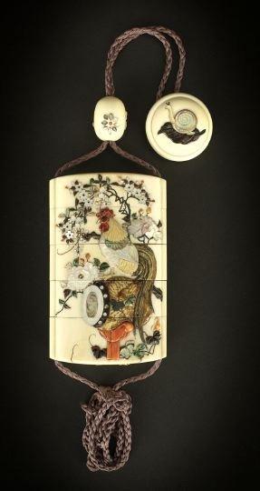 1077: Fine Japanese Shibayama Four-Compartment Inro