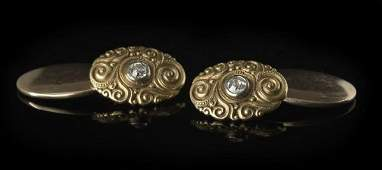 1311 Antique Tiffany 18 Kt Gold and Diamond Cufflinks