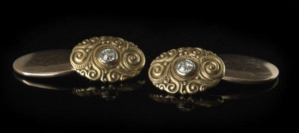 1311: Antique Tiffany 18 Kt. Gold and Diamond Cufflinks