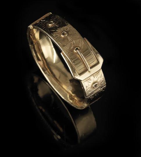 1312: American Victorian 14 Kt. Gold Bangle Bracelet