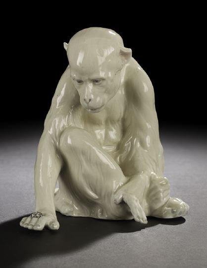 1314: Continental Glazed Porcelain Figure of a Monkey
