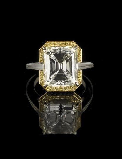 1321: Platinum, 18 Kt. Yellow Gold and Diamond Ring