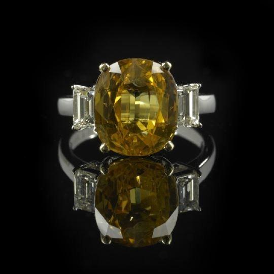 1327: Platinum, 18 Kt. Gold, Sapphire & Diamond Ring