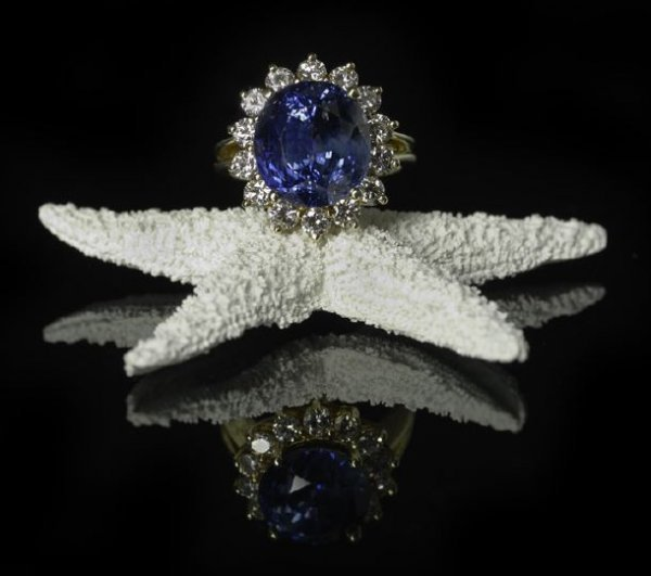1328: 14 Kt. Yellow Gold, Sapphire and Diamond Ring