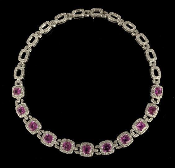 1329: Superb Platinum, Sapphire and Diamond Necklace