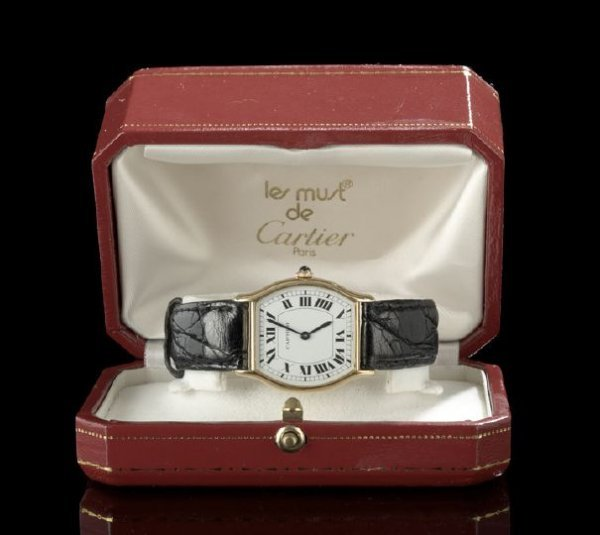 1339: Cartier Eighteen-Karat Yellow Gold Wrist Watch