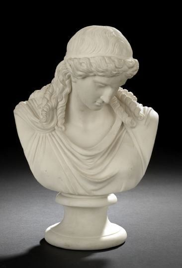 1442: English Parian Porcelain Bust of Ariadne