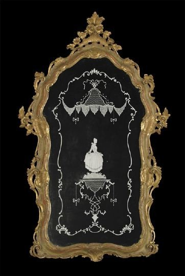 1: Italian Giltwood Looking Glass