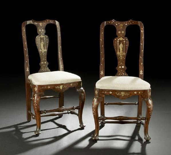 2: Pair of Continental Bone-Inlaid Walnut Sidechairs