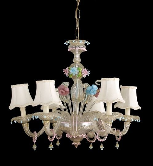 3: Good Murano Glass Six-Light Chandelier