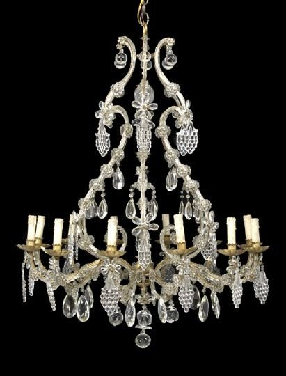 16: Austro-German Iron and Cut Glass Chandelier