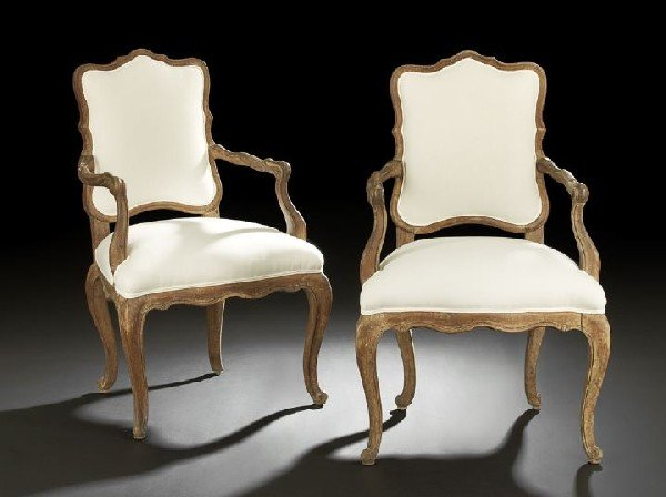 17: Pair of Italian Provincial Oak Fauteuils