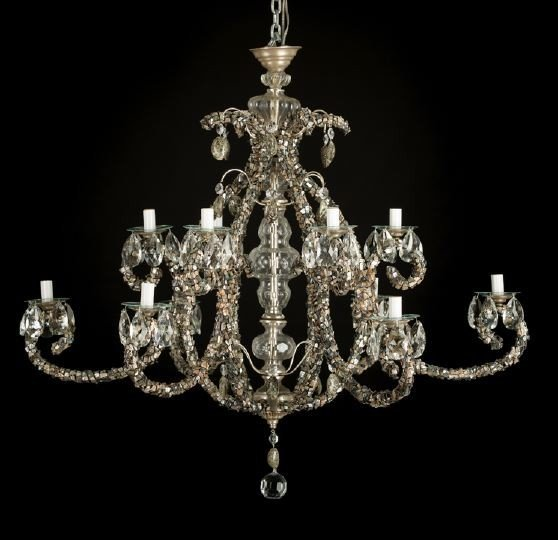 21: French Brass, Glass and Abalone Chandelier