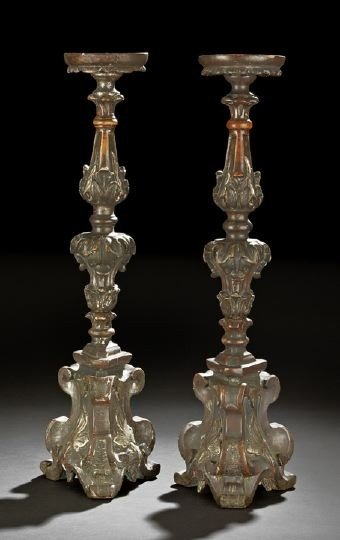 23: Pair of Italian Wooden Pricket Altar Candlesticks