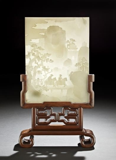 195: Good Chinese Carved White Jade Table Screen