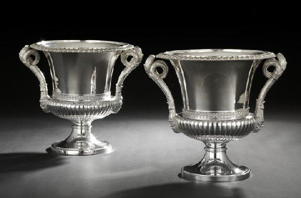338: Pair of George IV-Style Sterling Wine Coolers