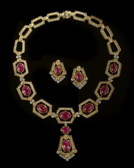 667: Ruby and Diamond Necklace and Earrings Suite