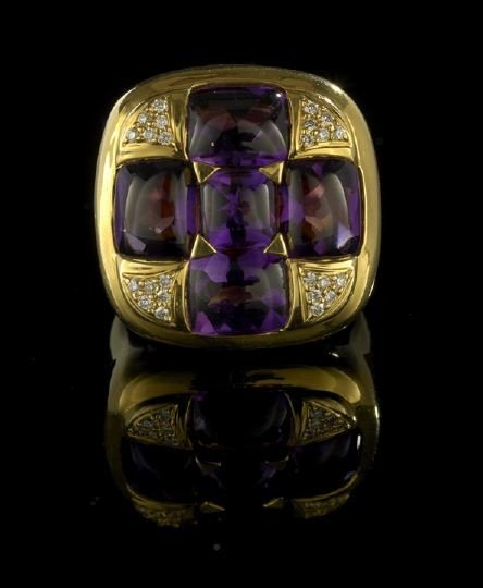 671: 18 Kt. Gold, Amethyst and Diamond Lady's Ring